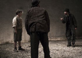 C. Conneely as Boy, Aaron Monaghan as Estragon and Marty Rea as Vladimir in